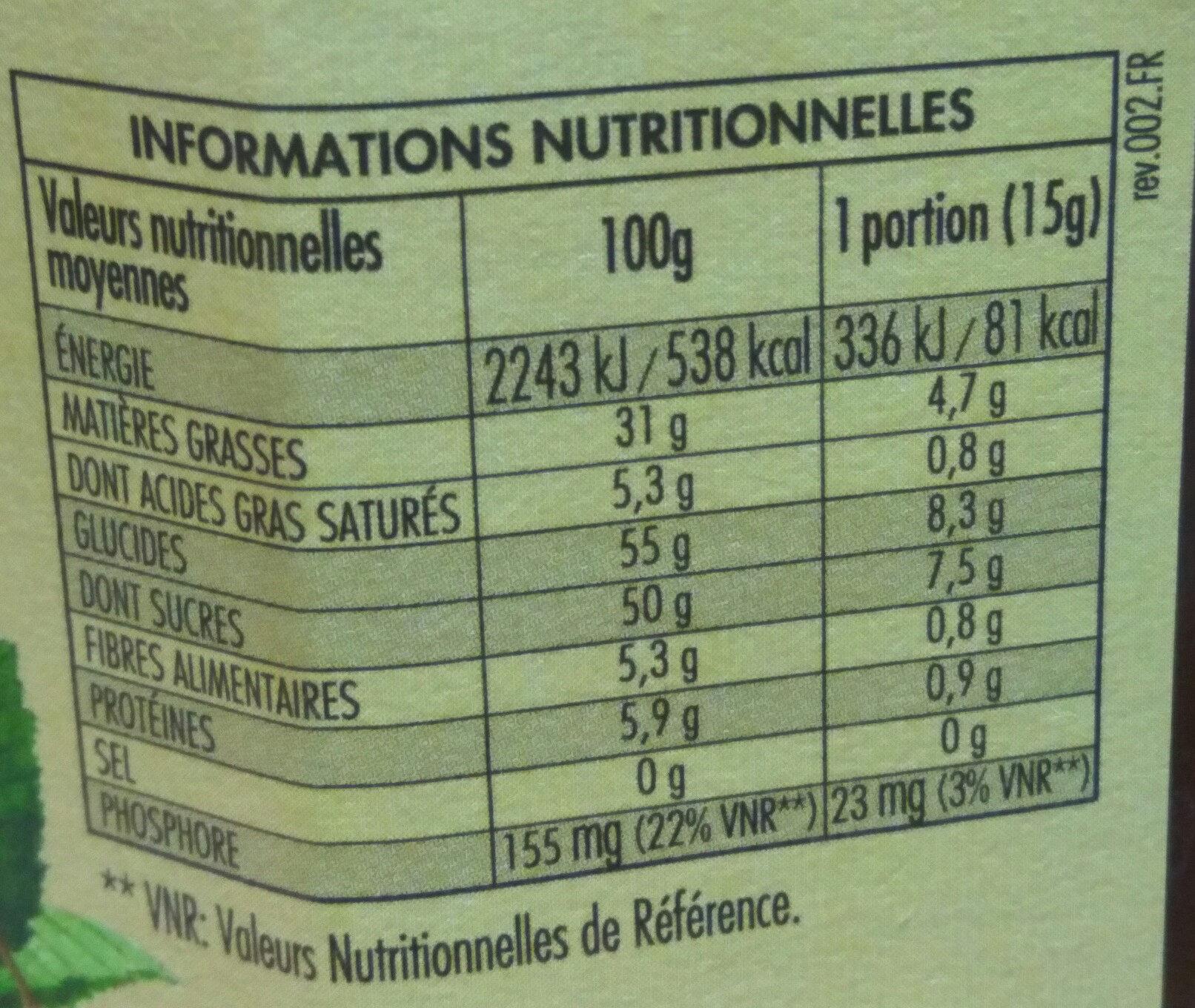 Nocciolata sans lait - Informations nutritionnelles - fr
