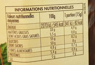 Nocciolata sans lait - Nutrition facts