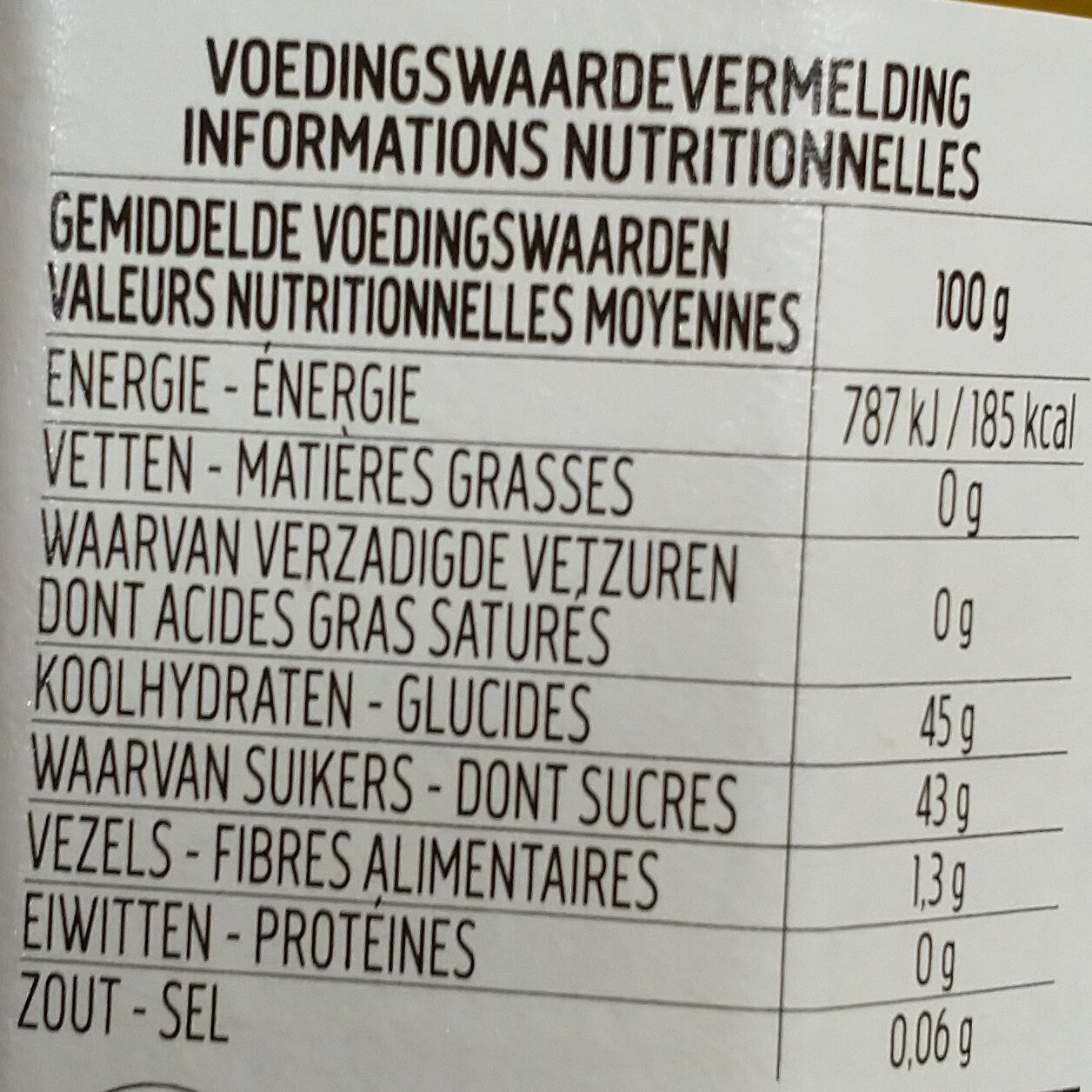 Fiordifrutta agrumes et gingembre - Voedingswaarden - fr