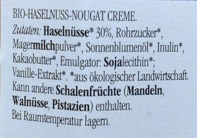 Bio-Haselnuss-Nougat Creme - Zutaten - de