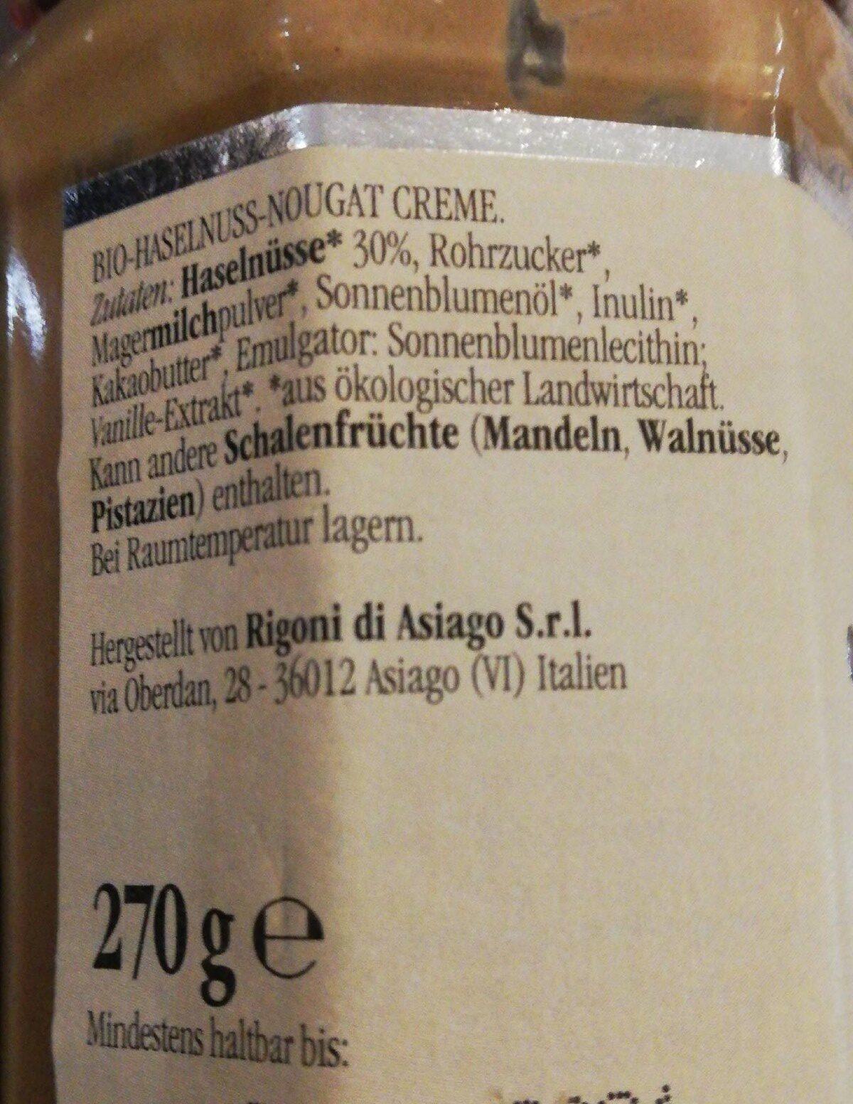 Nocciolata Bianca bio nougat crème - Ingrediënten