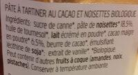 nocciolata bio - Ingredients - fr