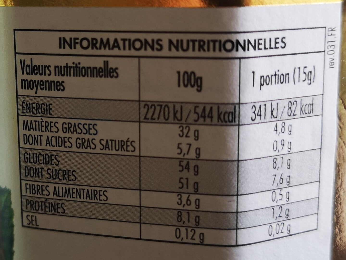 nocciolata bio - Nutrition facts - en