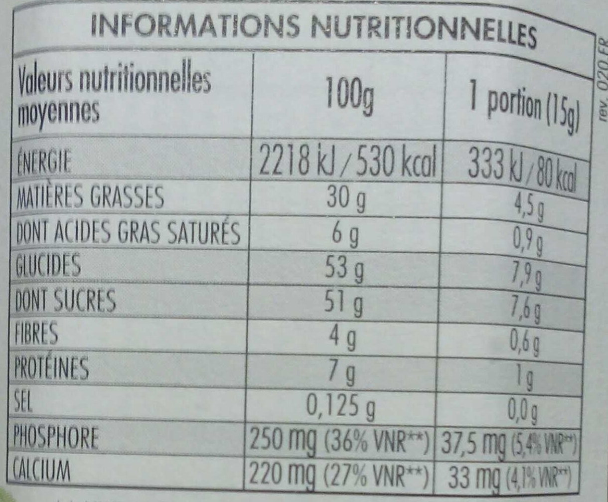 Nocciolata - Nutrition facts