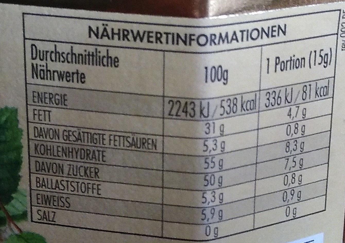 Nocciolata - Informations nutritionnelles