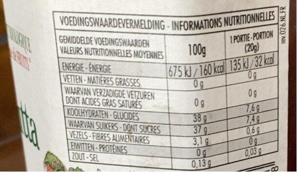 Fiordifrutta framboise - Voedingswaarden - fr