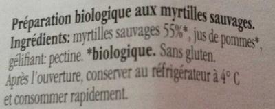 Fiordifrutta Confiture Myrtilles Sauvages Bio - Inhaltsstoffe