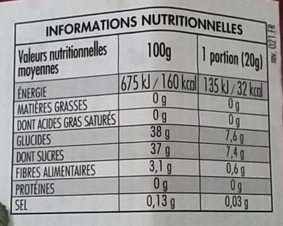 Fiordifrutta Framboises - Nutrition facts - fr