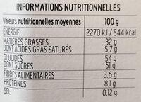 Nocciolata - Informazioni nutrizionali - fr