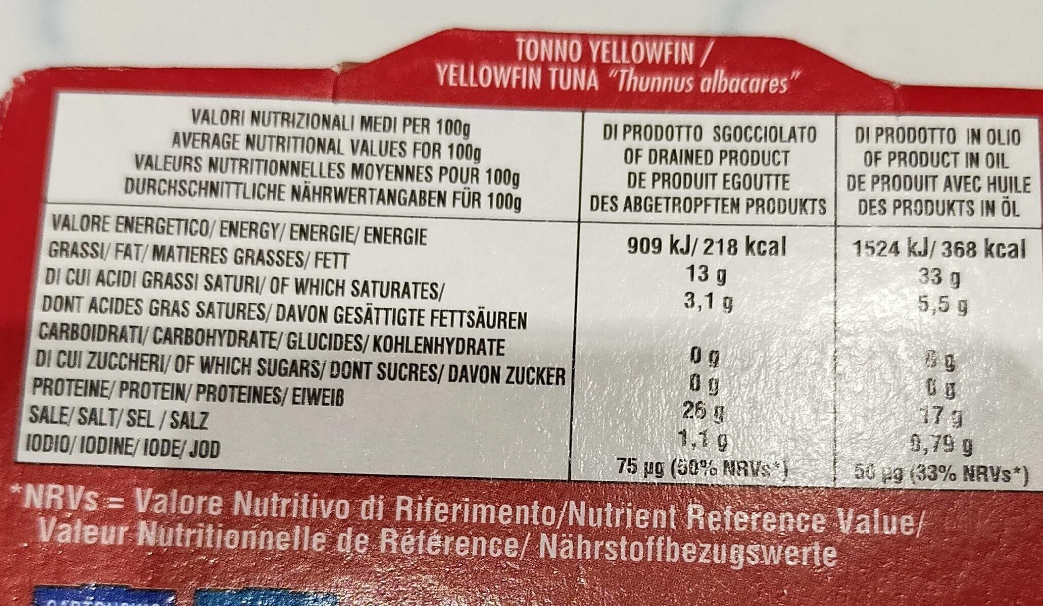 Thon à L'huile D'olive Callipo 6x2x160gr, 12 Boîtes - Valori nutrizionali - fr