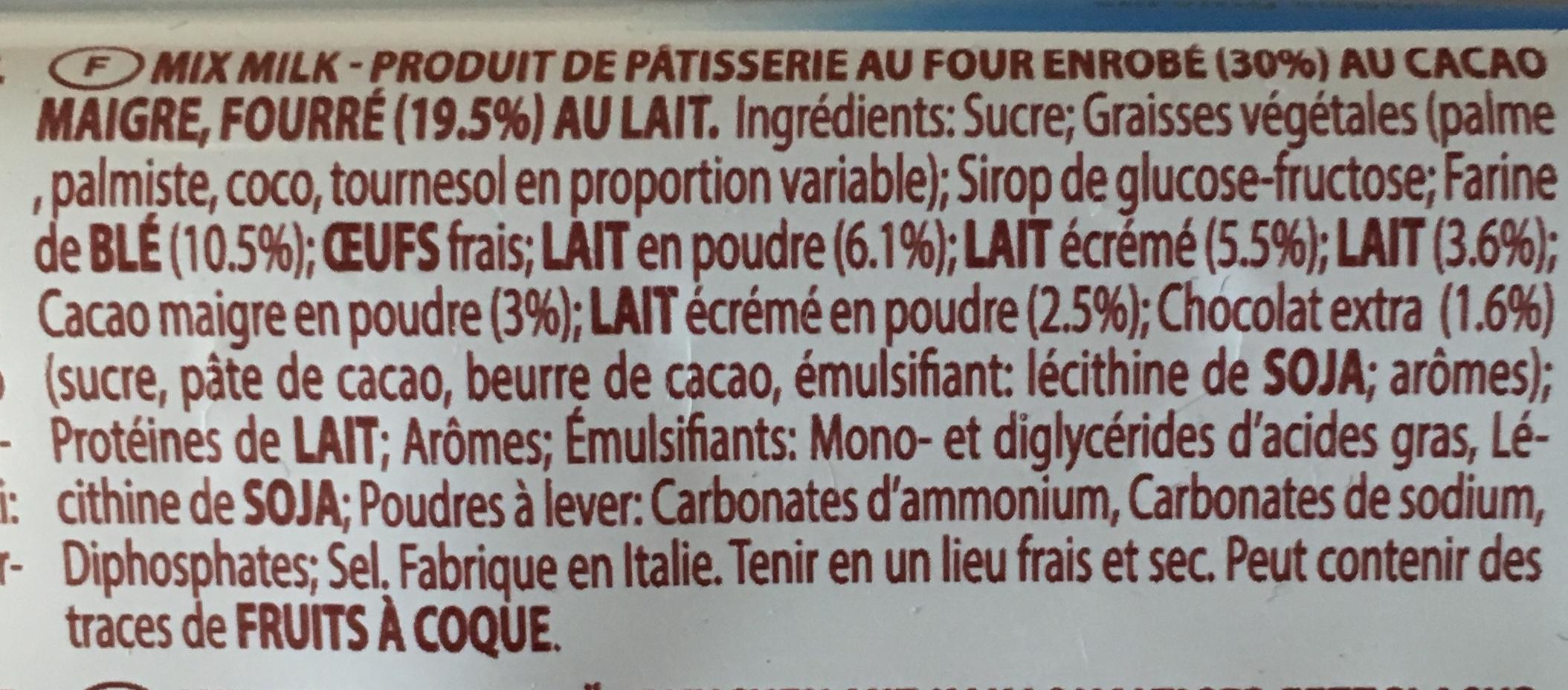 Mix Milk with Velvety Milk Cream Filling x (350g) - Ingredients - fr