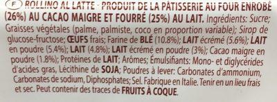 Rollino Lait - Ingredienti