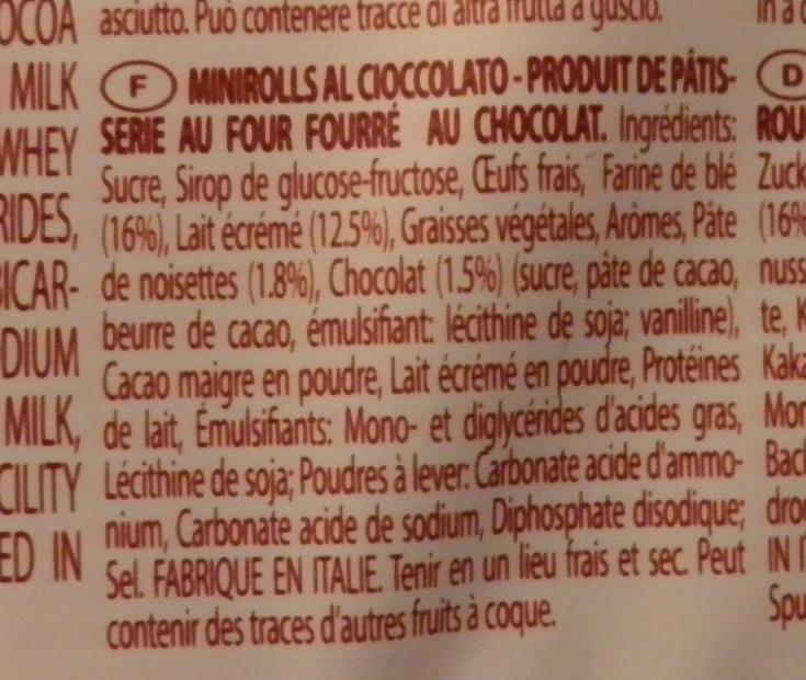 Mini Rolls Chocolate Balconi - Ingrediënten