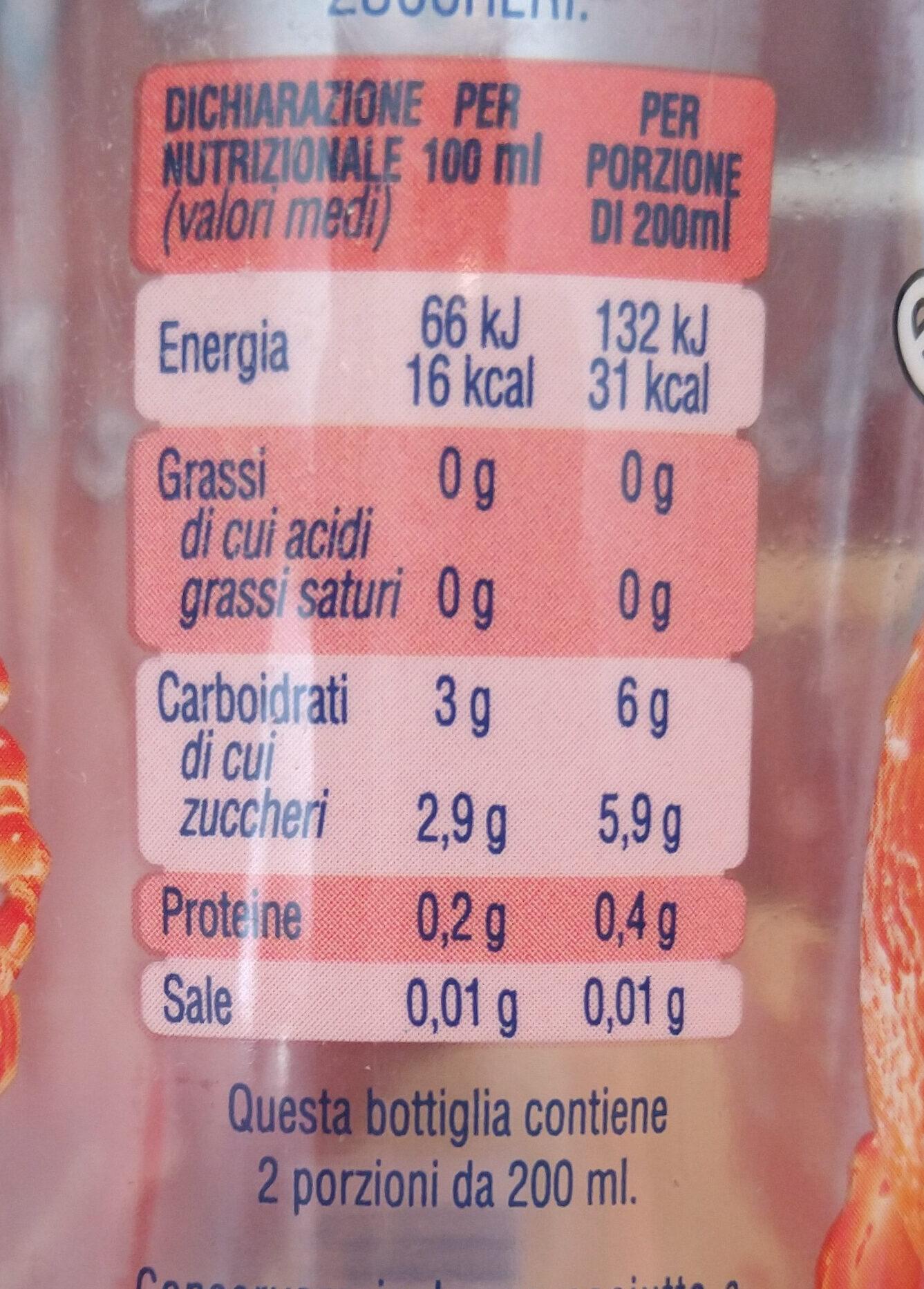 San Benedetto Succoso Zero arancia e arancia rossa - Valori nutrizionali - it