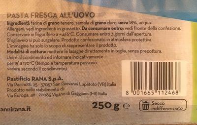 Sfogliavelo lasagne fresche all'uovo - Ingrediënten - fr