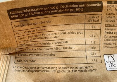 Tortellini Ricotta & Spinaci - Výživové údaje - de