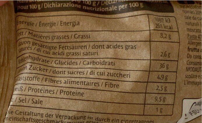 Tortellini Ricotta & Spinaci - Nutrition facts - de