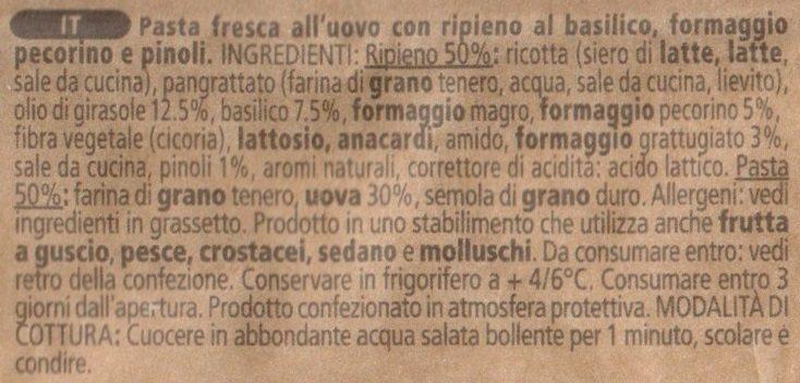 Tortellini Pesto-Basilico & Pinoli - Ingredienti - it