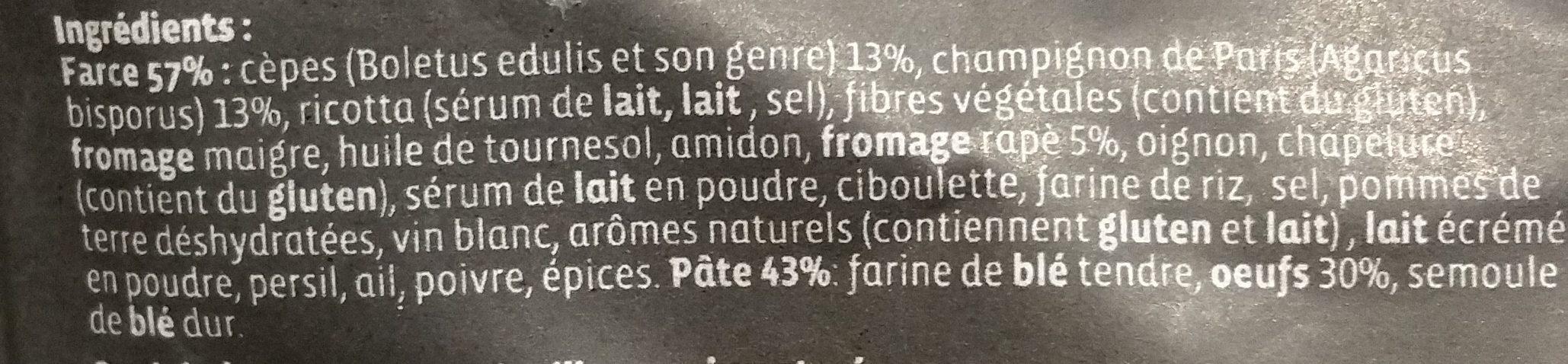 Gourmet - Grand ravioli Cèpes, Fromage & Champignons Émincés - Ingrediënten
