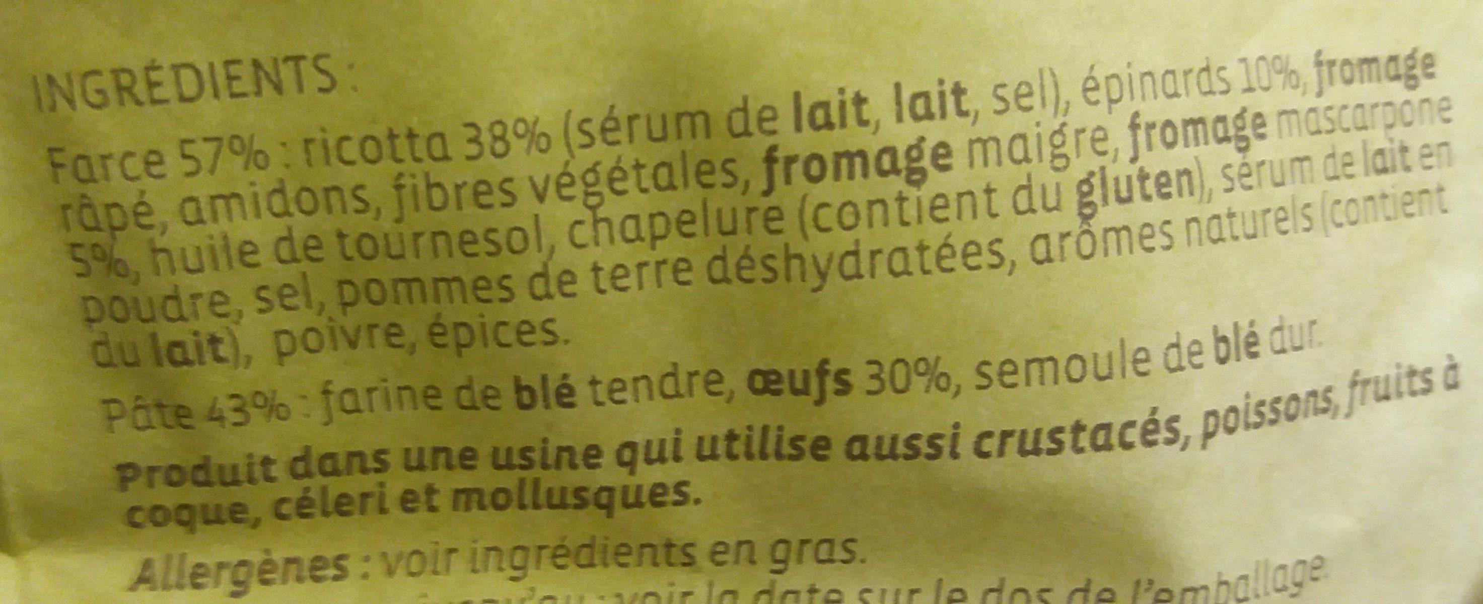 Ravioli ricotta, epinards & mascarpone - Ingredients