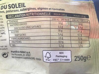RAVIOLI LEGUMES DU SOLEIL - Voedingswaarden - fr