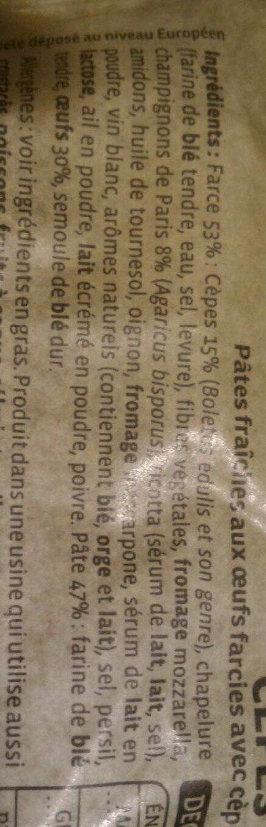 RAVIOLI CEPES - Ingredienti - fr