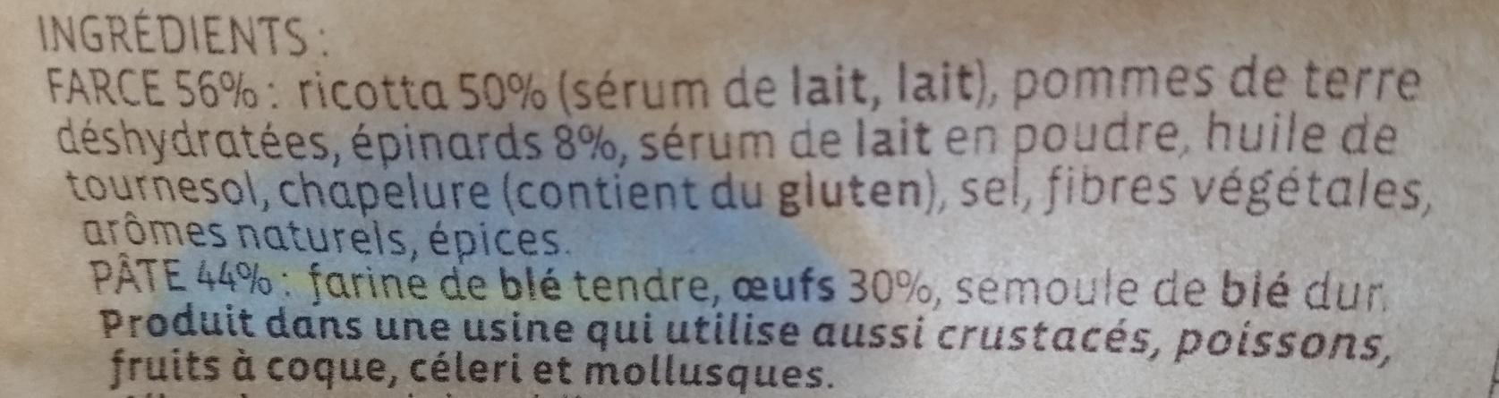 Tortellini Ricotta & Epinards +20% gratuit - Ingredients - fr