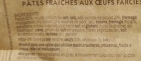 Ravioli Poulet à la paysanne Mozarella & Bacon - Ingrédients