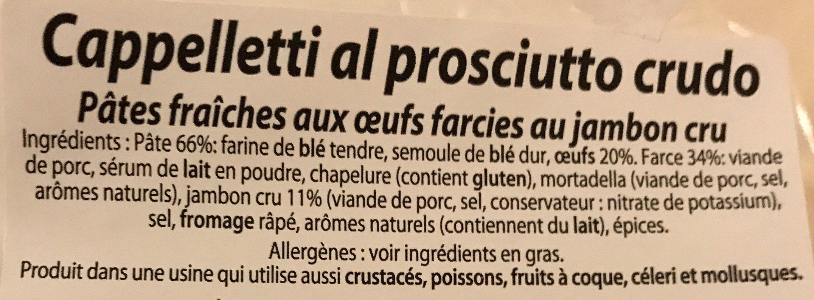 Pates fraiches aux oeufs farcies au jambon cru - Ingrédients