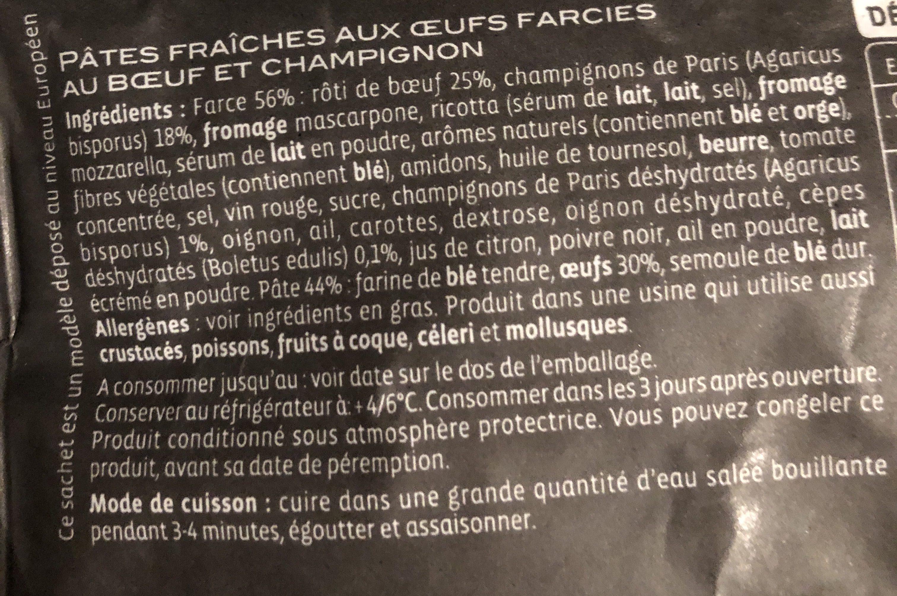 Ravioli boeuf et champignons emincés - Ingrédients - fr