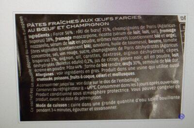 Ravioli boeuf et champignons emincés - Voedingswaarden - fr
