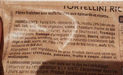Tortellini Ricotta & Epinards - Ingrédients