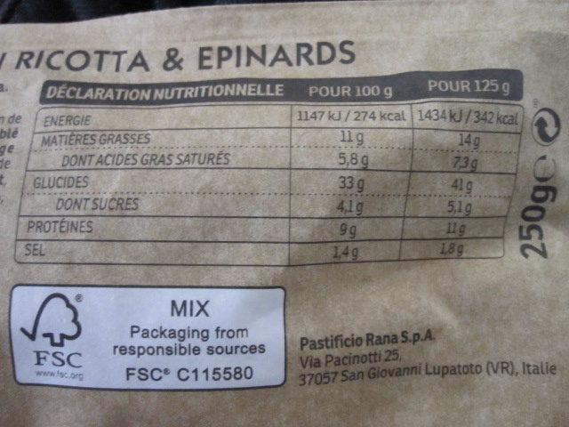 Tortellini Ricotta & Epinards - Informations nutritionnelles