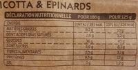 Tortellini ricotta et épinards - Información nutricional - fr