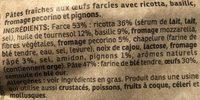 Tortellini Pesto Basilic & Pignons - Ingredientes - fr
