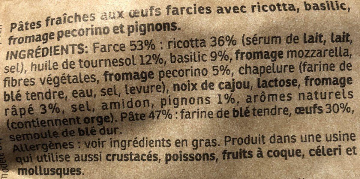 Tortellini Pesto Basilic & Pignons - Ingredienti - fr