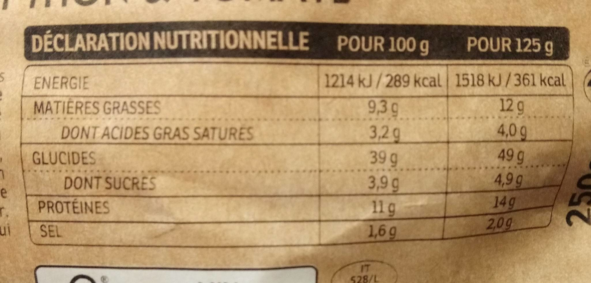 Tortellini thon tomate - Nutrition facts - fr