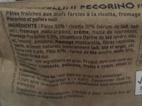 Tortellini Pecorino et Poivre - Ingredients - fr