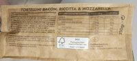 Tortellini Bacon, Ricotta & Mozzarella - Ingrediënten - fr