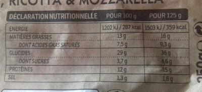 Tortellini Bacon, Ricotta & Mozzarella - Voedingswaarden - fr