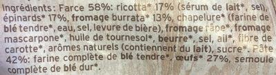 Pâtes Bio au Blé Complet Epinards, Ricotta et Fromage Burrata - Ingrédients - fr