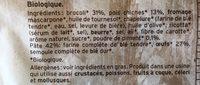Pâtes Bio au Blé complet Crème de Pois Chiches et Brocoli - Ingredients - fr