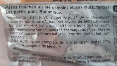 Bio au Blé Complet, Petits Pois Tendres et Fondants - Ingrédients - fr