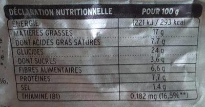 Bio au Blé Complet, Petits Pois Tendres et Fondants - Informations nutritionnelles - fr