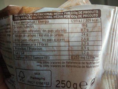 Pastas bio - Informació nutricional