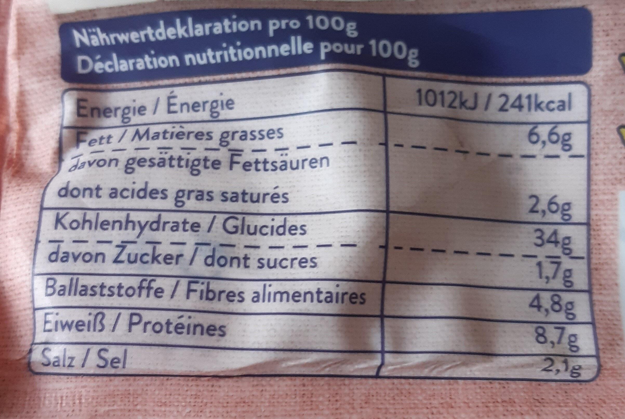 Gnocchi farcis - Informazioni nutrizionali - fr