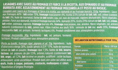Lasagnes Fraîches Burrata & Epinards - Ingredients - fr