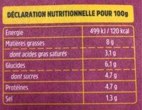 Aubergines à la Parmesane Fraîches - Voedingswaarden - fr