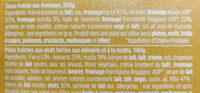 Tortellini ricotta & épinards aux fromages - Ingredients - fr