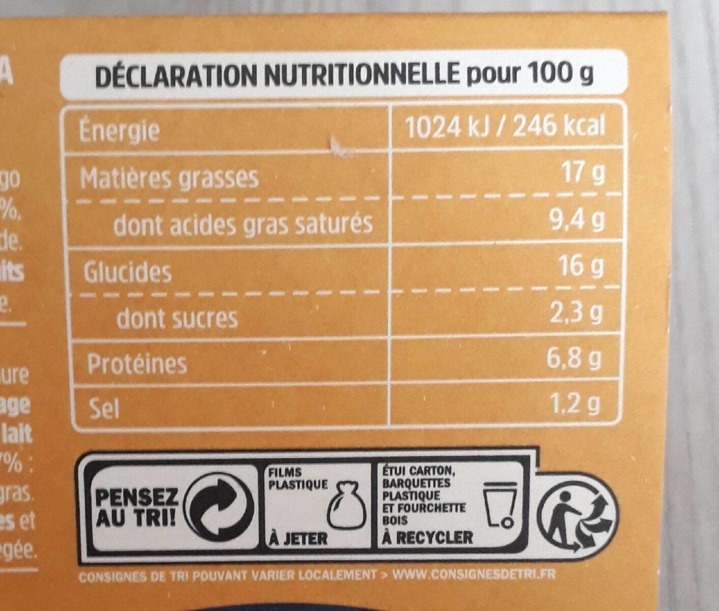 Tortellini ricotta & épinards aux fromages - Nutrition facts - fr